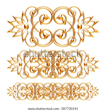 Gold elements and ornamental vintage decoration.  - stock photo
