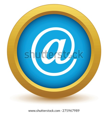 Gold email icon on a white background - stock photo