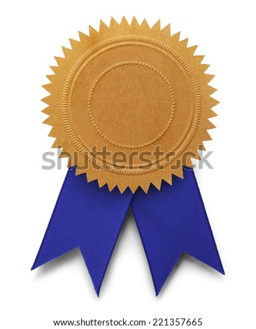 Gold Embossed Seal with Copy Space and Blue Ribbons Isolated on White Background. - stock photo