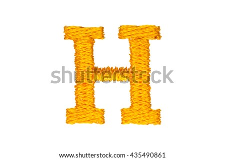 Gold Embroidery Designs alphabet H isolate on white background