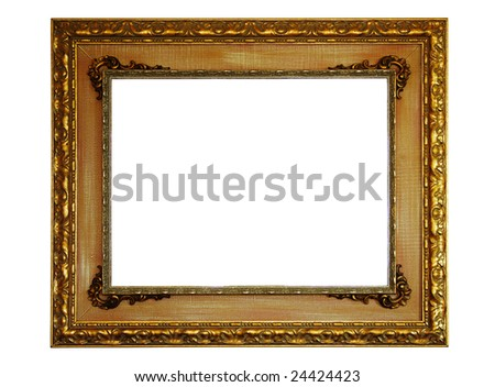 Gold empty picture frame isolated on white - stock photo