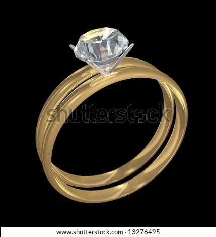 Gold engagement and wedding rings with diamond solitaire on black background.