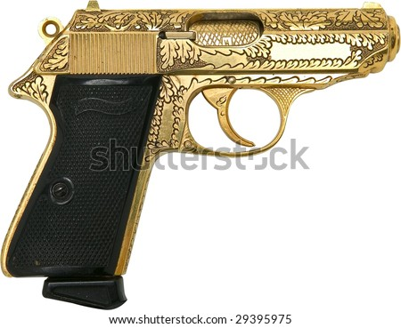 gold engraved gangster pistol isolated on white - stock photo