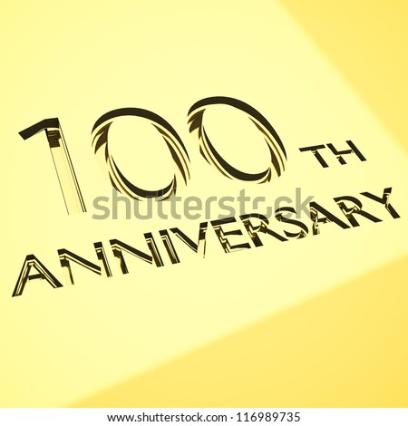 gold engraving of 100th anniversary words, for celebrations. 3d render. - stock photo