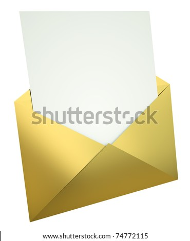 Gold envelope with blank letter. 3D render. - stock photo