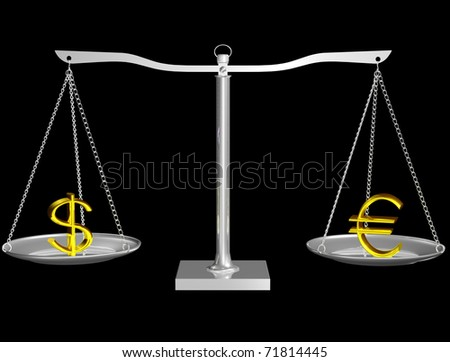 Gold Euro and Dollar on Silver balance on black isolated background - stock photo