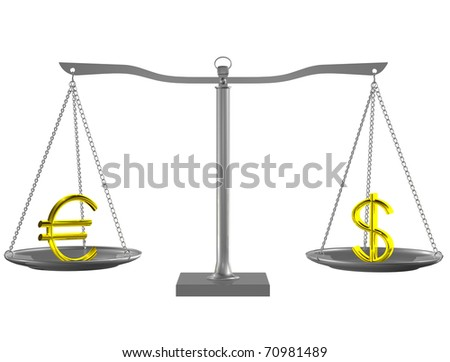 Gold Euro and Dollar on Silver balance on white isolated background - stock photo