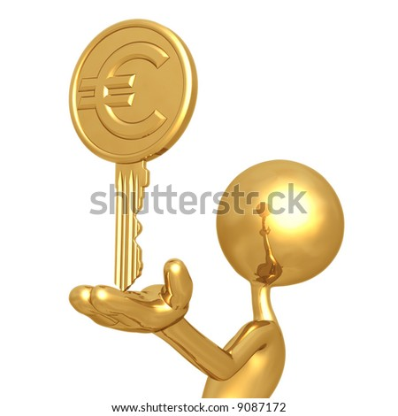 Gold Euro Coin Key - stock photo