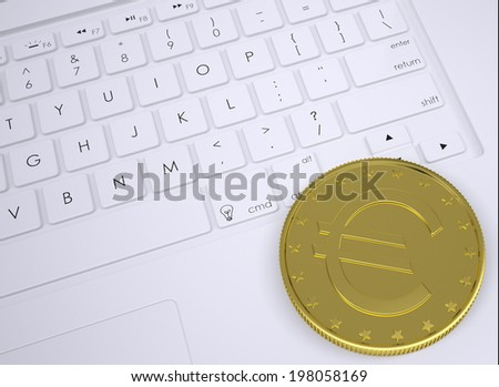 Gold euro coin on the keyboard. View from above - stock photo