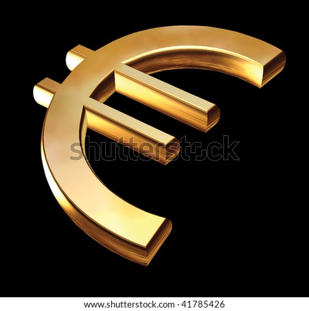 Gold Euro sign, lying on a black background