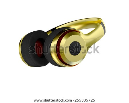 gold exclusive headphones for music. path included