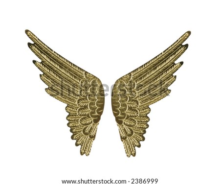 Gold Fairy Angel Wings Isolated on White - stock photo