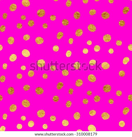 Gold Faux Foil Metallic Dots Hot Pink Magenta Background Pattern Texture