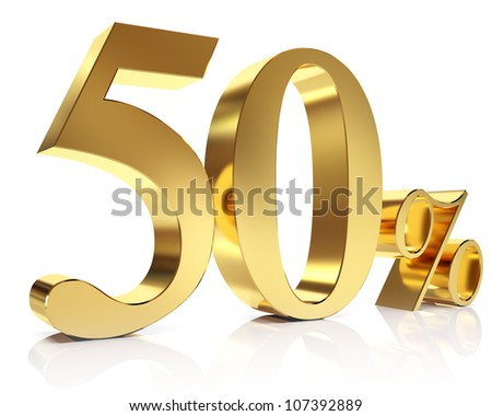 Gold fifty percent discount symbol - stock photo