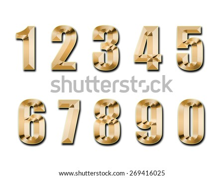 gold figures, isolated on a white background - stock photo