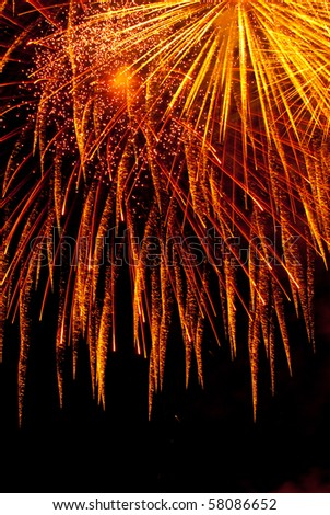 Gold fireworks detail (Brno dam, Ignis Brunnensis - stock photo