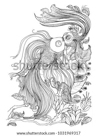 Gold Fish Couple Kissing Concept Love Art Line Design Pencil Stroke Drawn Black And White Illustration