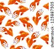 Gold fish. pattern. watercolor - stock photo