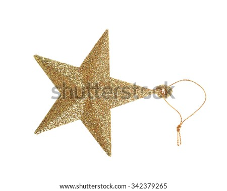 Gold five pointed star christmas decoration isolated on white background. - stock photo
