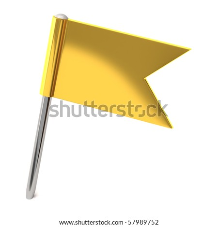 Gold flag pin - stock photo