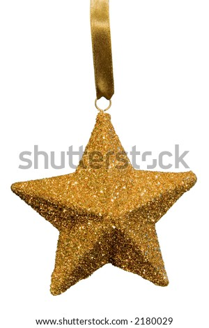 Gold flake star Christmas tree ornament on white background complete with detailed clipping path.
