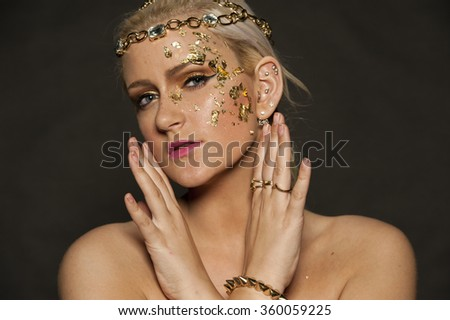 Gold Flakes on Face