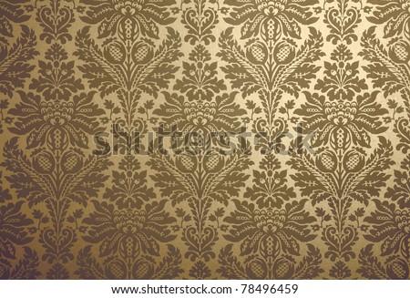 Gold floral design retro wallpaper - stock photo