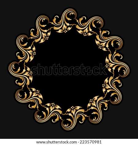 Gold floral round ornament for print, embroidery on black background. Raster version. - stock photo