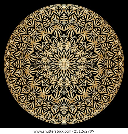 Gold floral round ornament on black background. Raster version. - stock photo