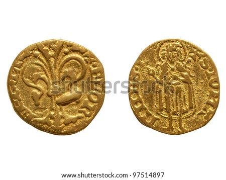 """Gold Florin (Fiorino d'oro) coin issued circa 1256 in Florence, Italy - reading """"Florentia"""" on the front side and """"S. Iohannes"""" on the rear side - stock photo"""