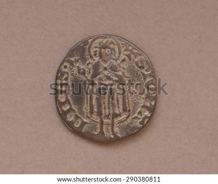 """Gold Florin (Fiorino d'oro) coin issued circa 1256 in Florence, Italy - reading""""S. Iohannes"""" on the rear side - stock photo"""