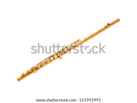 Gold flute isolated on white - stock photo