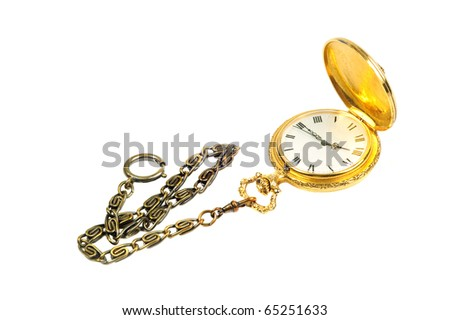Gold fob watch with antique brass chain isolated on white