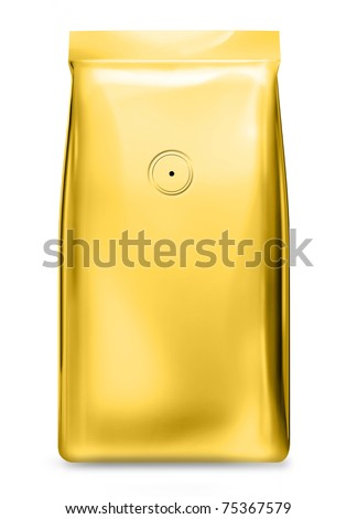gold foil bag with air valve - stock photo