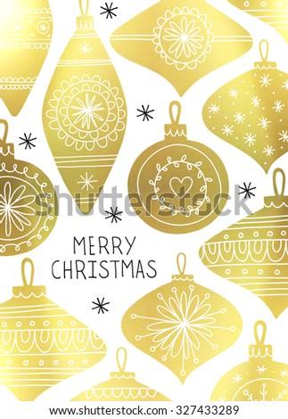 Gold foil baubles. Retro Christmas card design. Vintage baubles. Hand drawn baubles. Gold baubles on white background.  - stock photo