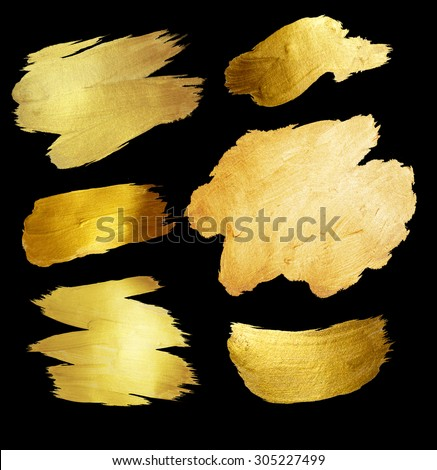 Gold Foil Shining Paint Stain Hand Drawn Illustration  - stock photo