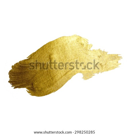 GOLD FOIL TEXTURE RASTER ILLUSTRATION. SHINING BRUSH STROKE - stock photo