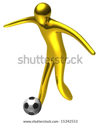 Gold football player. 3d illustration - stock photo