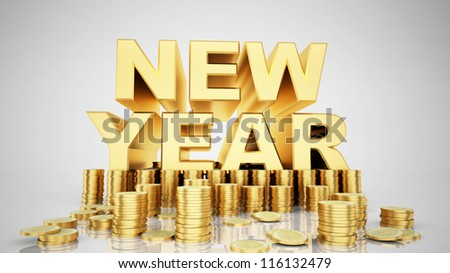 Gold for Happy new year - stock photo