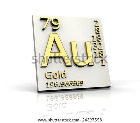 Gold form Periodic Table of Elements - stock photo