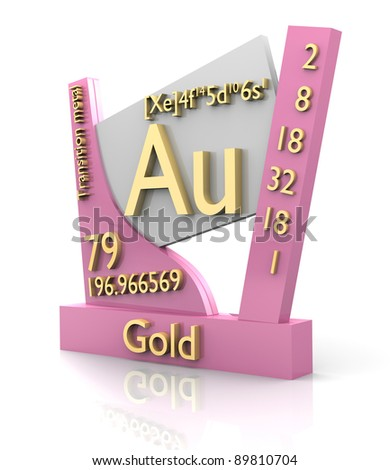 Gold form Periodic Table of Elements - 3d made - stock photo