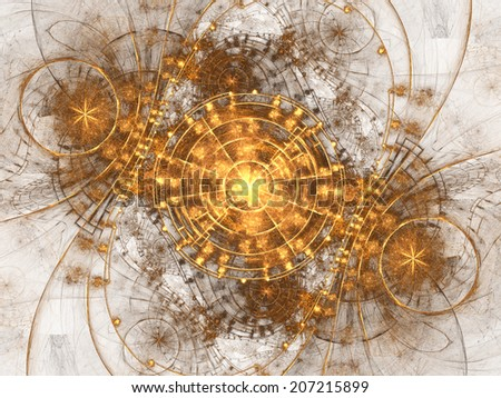 Gold fractal time machine, digital artwork for creative graphic design - stock photo