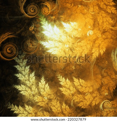Gold fractal trees on fire, digital artwork for creative graphic design - stock photo