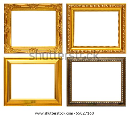 Gold frame Collection on white background - stock photo