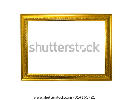 Gold frame. Gold/gilded arts and crafts pattern picture frame. I - stock photo