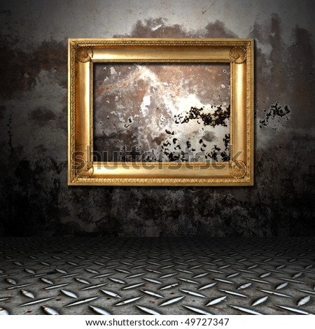 gold frame in a dark grungy room - stock photo