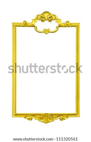 gold frame isolate on white background - stock photo