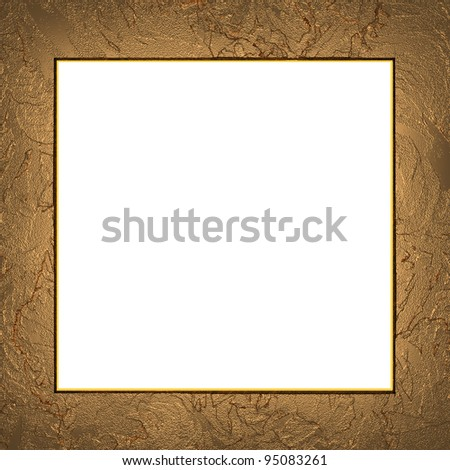 Gold frame isolated on white background - stock photo