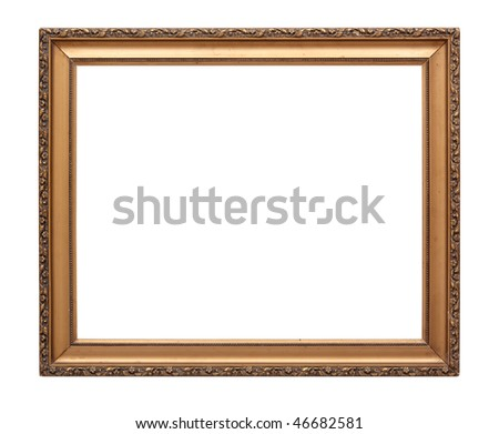 Gold frame isolated on white background with clipping path