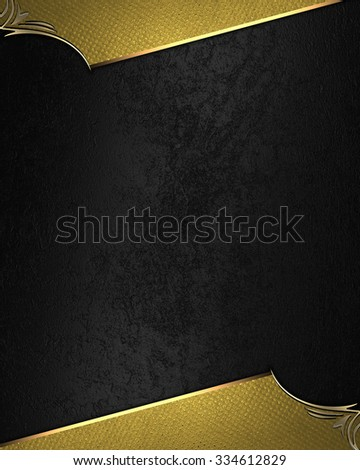 Gold frame on black background. Element for design. Template for design. copy space for ad brochure or announcement invitation, abstract background - stock photo